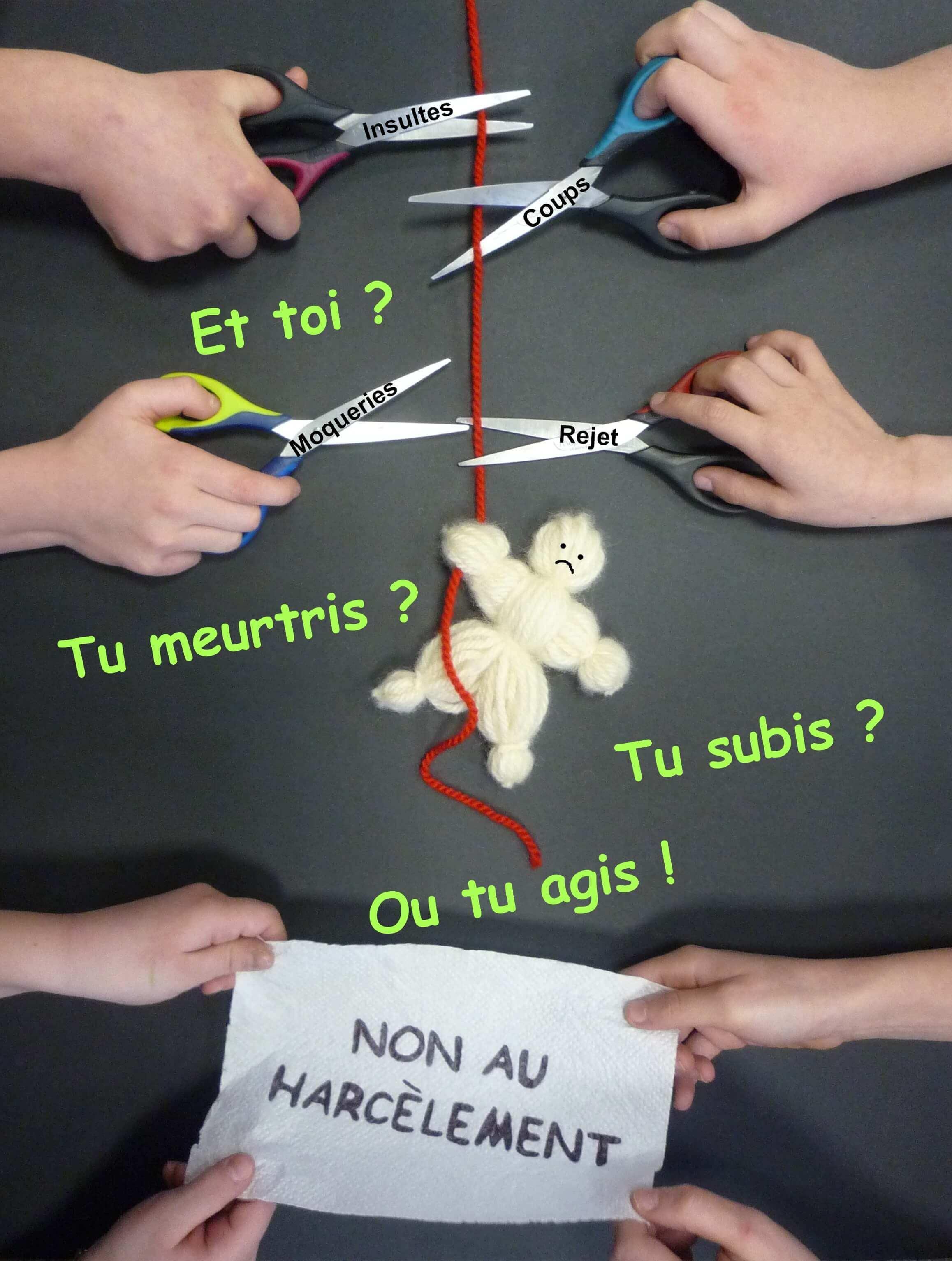 École élémentaire de Gries dans l'académie de Strasbourg présente son affiche : Ne tenir qu'à un fil