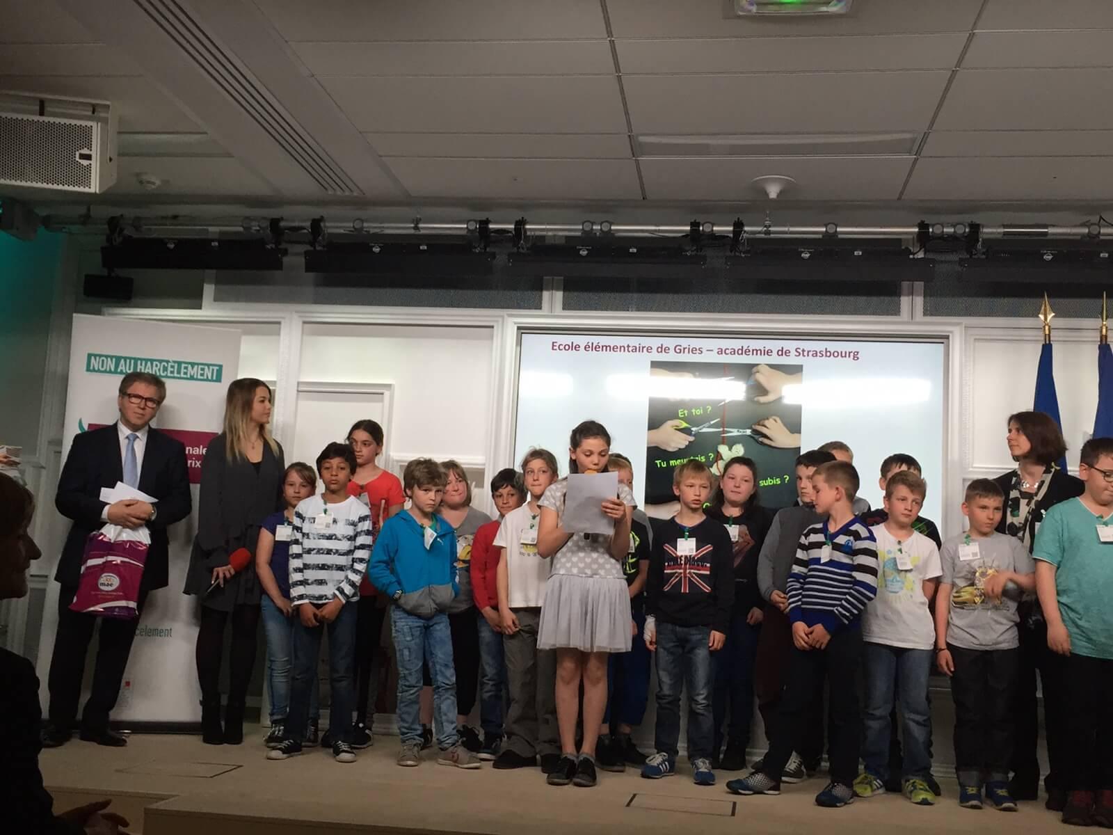 Les gagnants du prix contre le harcèlement à l'école 2016