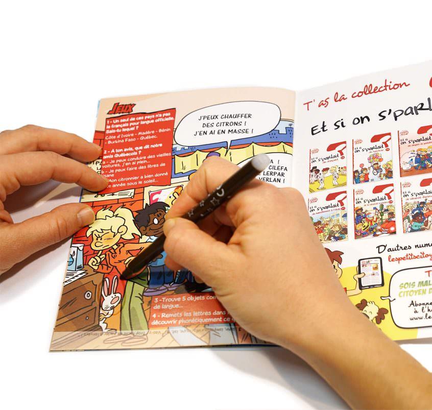 """Page de jeu du livret """"Et si on s'parlait de la langue française ?'"""