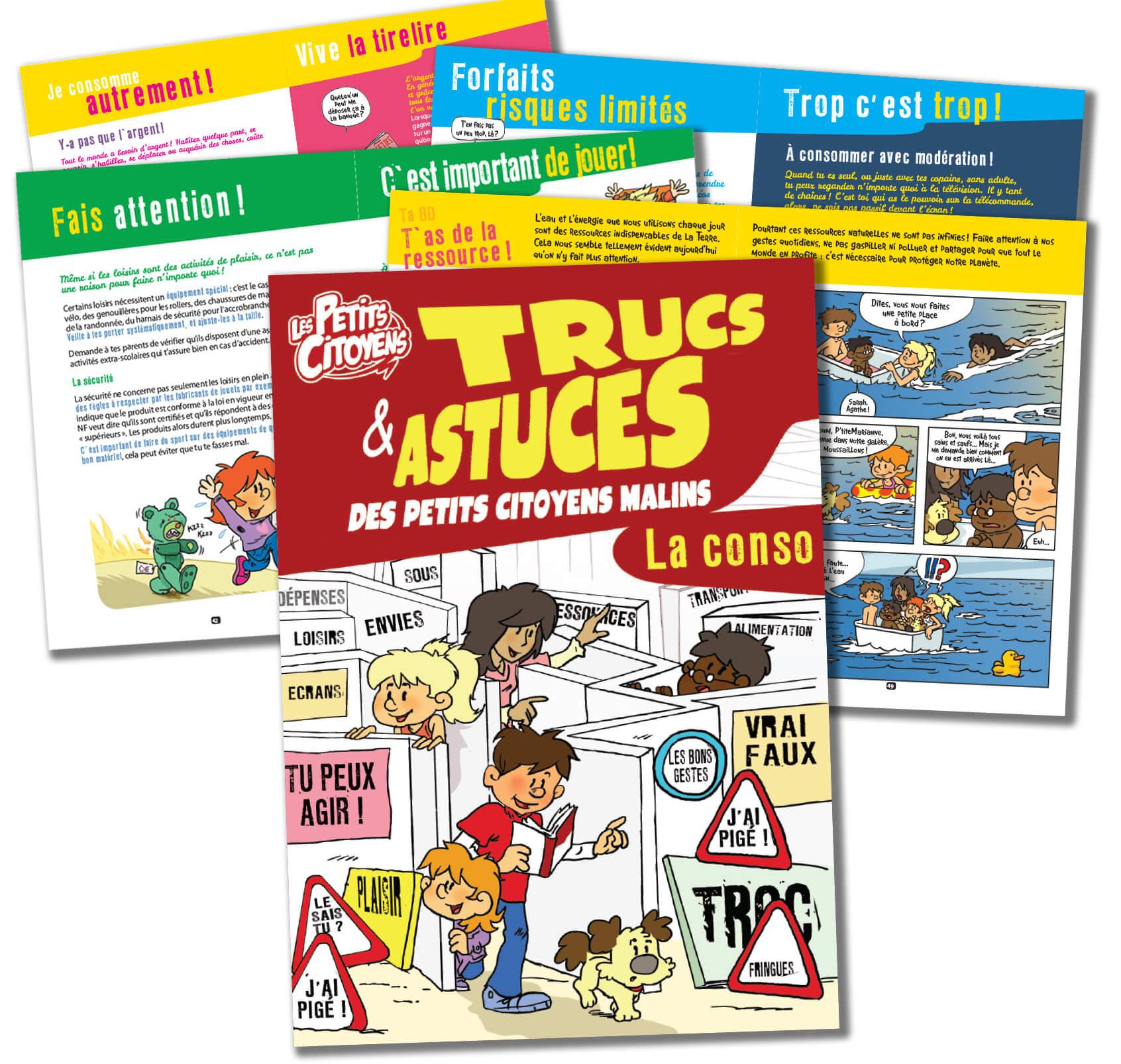La couverture et certaines pages du guide des petits citoyens sur la consommation