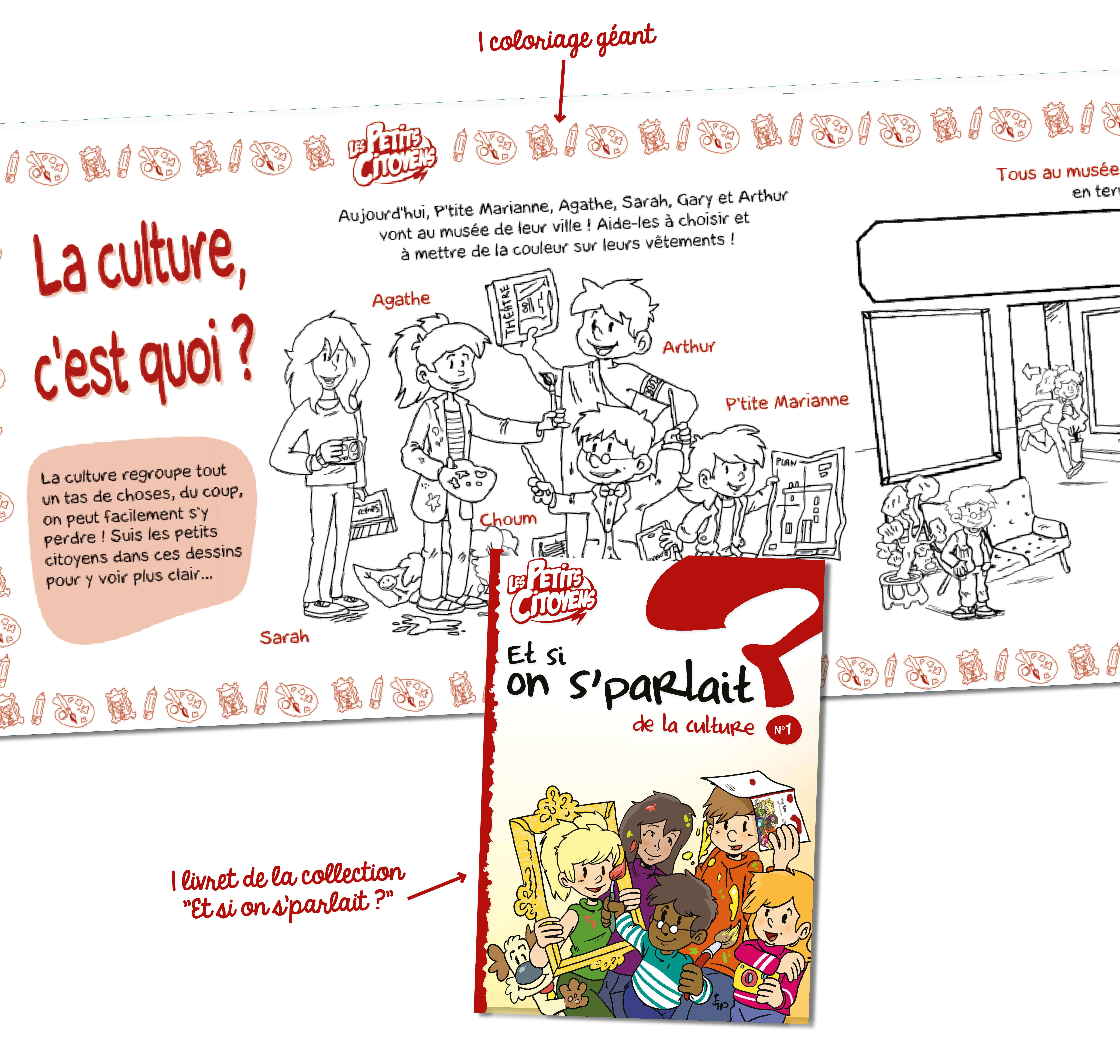 """1 coloriage géant et 1 livret de lecture """"Et si on s'parlait de la culture ?"""""""