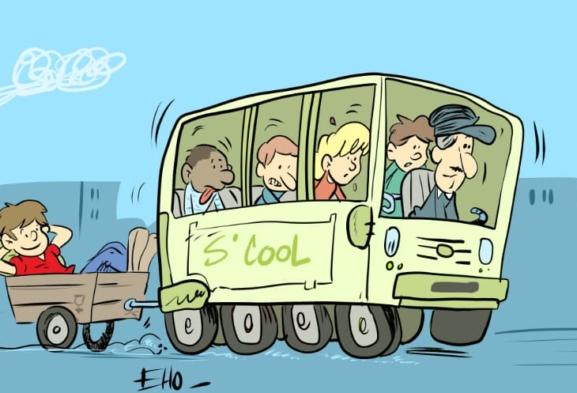 Trop cool ce bus à pédale!