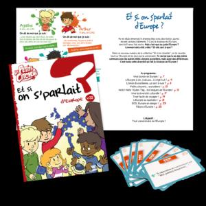 """Pack petits citoyens Europeens composé du livret """"Et si on s'parlait d'Europe ?"""" et du jeu Kidikoi sur les droits de l'enfants"""